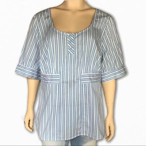 Blue and White Striped Shirt by Lane Bryant